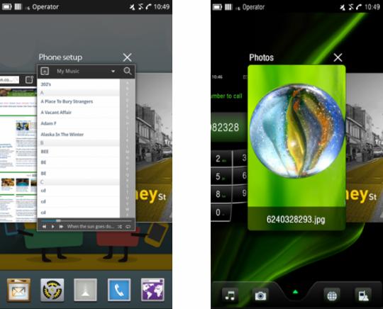 Официальные скриншоты ОС MeeGo для смартфонов - гибрид Android и webOS