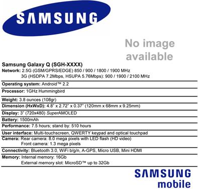 Мощный смартфон Samsung Galaxy Q - 1 ГГц чип Samsung Hummingbird, Android 2.2 и загадочный форм-фактор