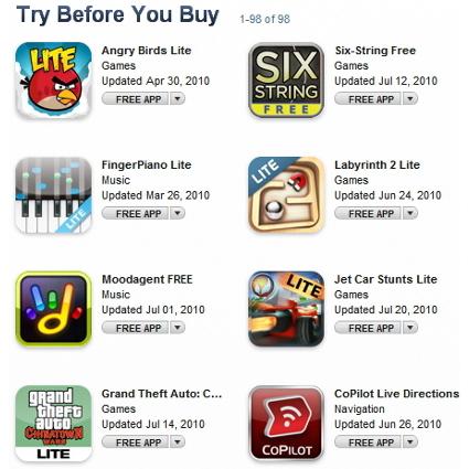 """В App Store появился раздел пробных приложений """"Try Before You Buy"""""""